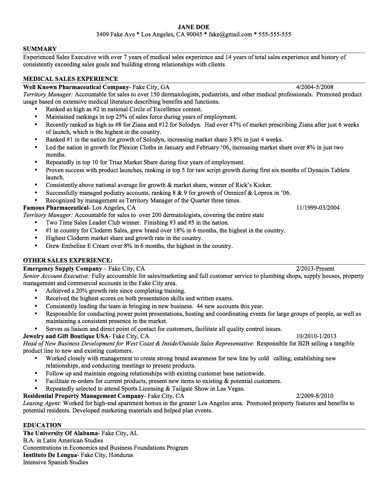 Example Resume For Medical Sales Industry Change