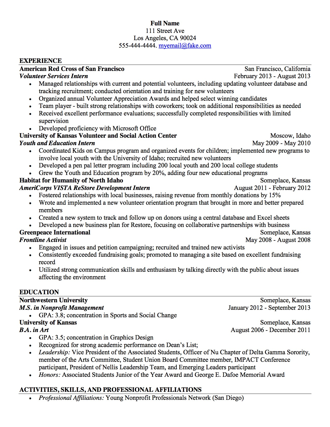non profit management resume