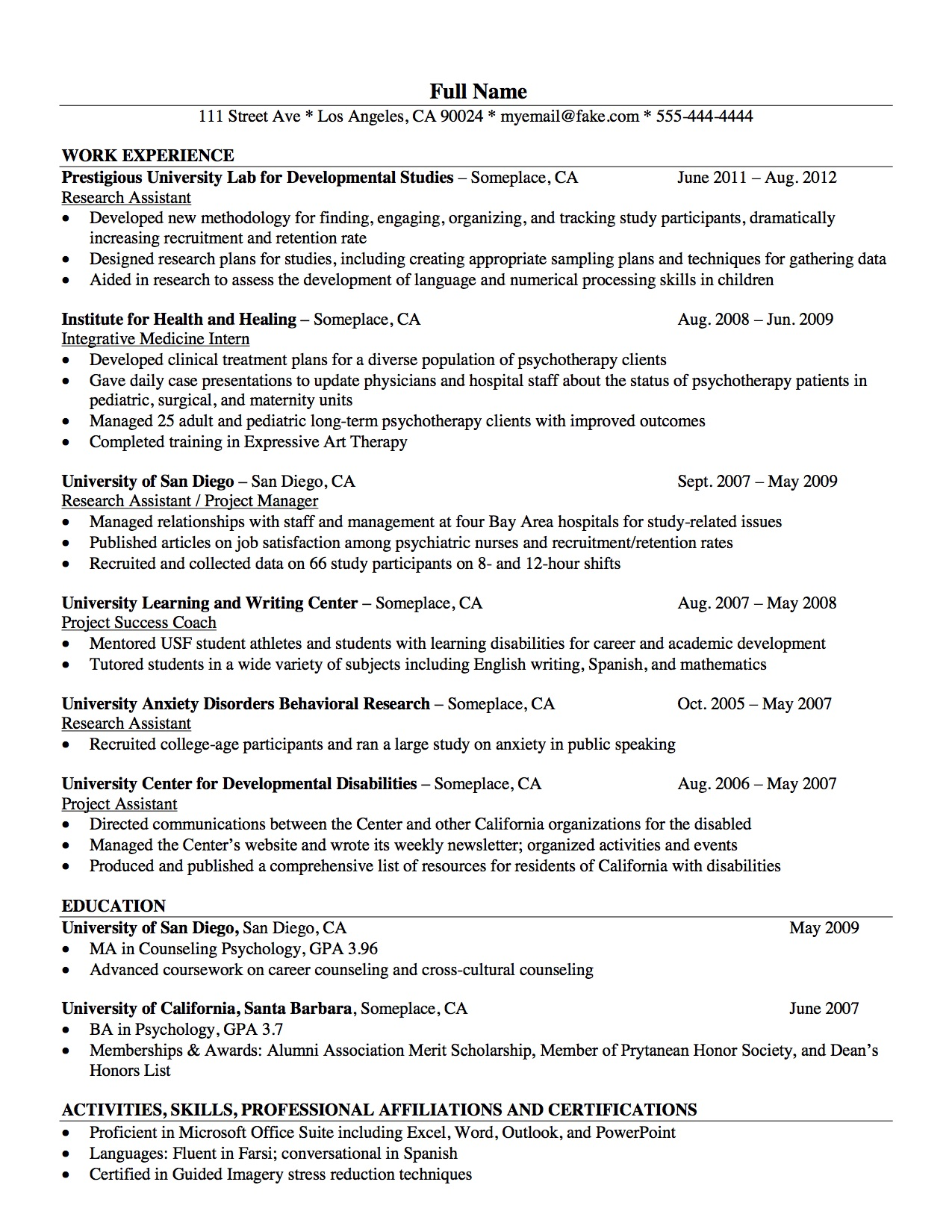 Los Angeles Resume Service  Psychologist Resume